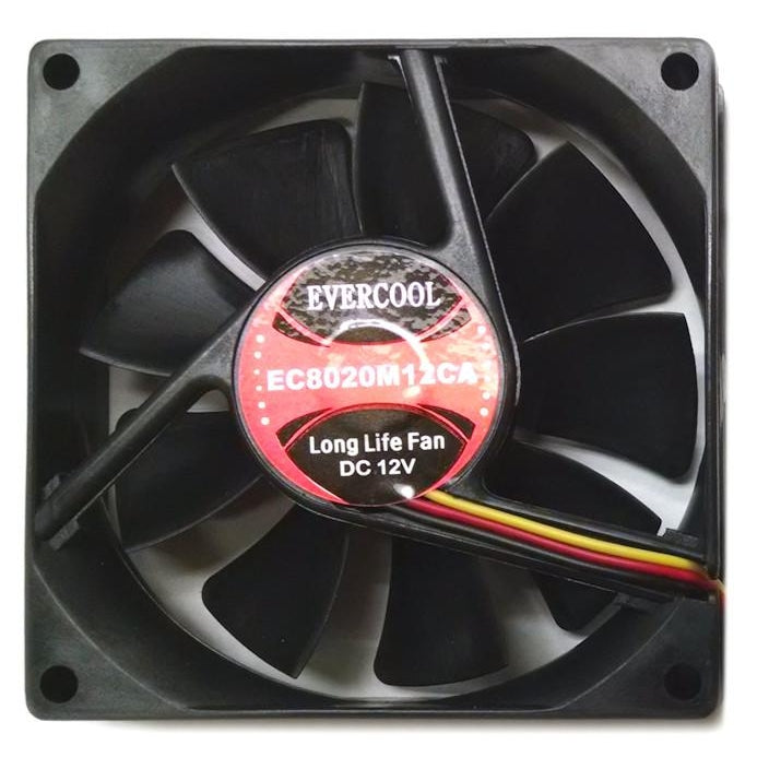 Evercool 80x80x20mm 12 Volt Fan with 3 Pin Connector-EC8020M12CA - Coolerguys