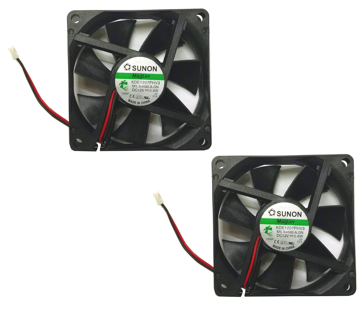 Sunon 2 Pack 70x70x15mm Vapo Bearing 12 Volt Fan-KDE1207PHV3 ...