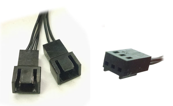 3 pin Y Splitter ALL Black Ribbon