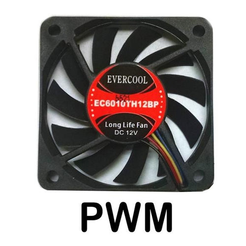 Evercool 60x60x10mm 12 Volt Dual Ball PWM Fan-EC6010TH12BP - Coolerguys