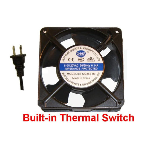 Best Electronics 120x120x38mm AC Fan with Thermal Switch BT12038B1M and Power Cord - Coolerguys