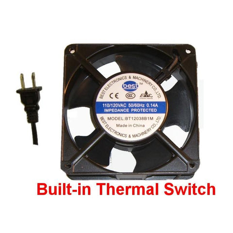 Best Electronics 120mm X 38MM Med speed AC Fan /with thermal switch # BT12038B1M