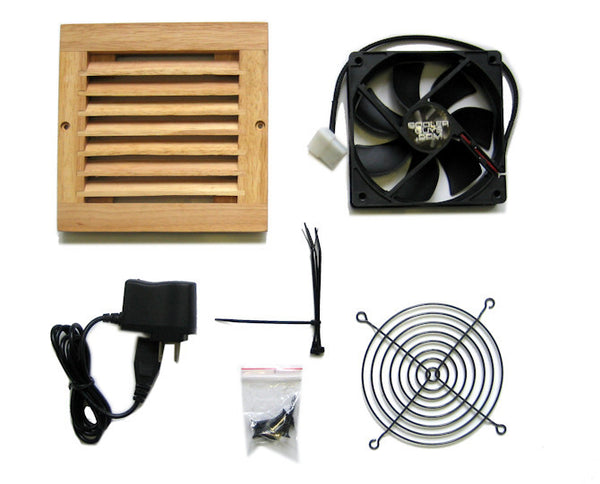 CabCool 1201W Lite 5 volt Single 120mm Fan Cooler Kit with Wood Grill for Cabinet / Home Theater