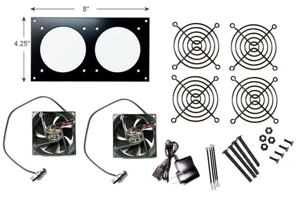 CabCool 802 Lite Dual 80mm Fan Cooling Kit for Cabinet & Home Theaters