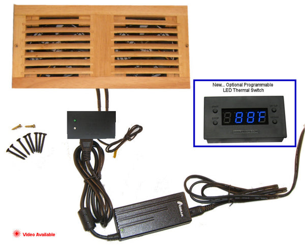 CabCool1202 Dual 120mm Fan Cooler Kit with Custom Wood Grill / Thermal Controller