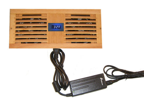 Cabcool1202W Deluxe Dual 120mm Fan Cooler Kit with Custom Wood Grill / Programmable Thermal Fan Controller / LED Display