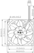 Everflow F128038BUAF 80x80x38mm PWM Ultra High Speed Fan - Coolerguys