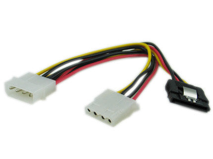 CG 8 inch 4Pin Molex Male to one SATA power 15Pin w/ Metal Latch and 4Pin Molex Female Cable #GC8ATAMFL