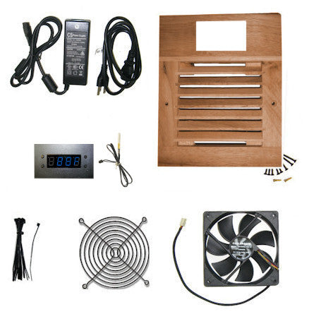 CG Cabcool1201W Deluxe Single 120mm Fan Wood Grill Cooling Kit / Programmable Thermal Fan Controller / LED Display