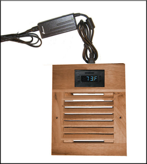 CG Cabcool 1201W Deluxe Single 120mm Fan Wood Grill Cooling Kit / Programmable Thermal Fan Controller / LED Display - Coolerguys