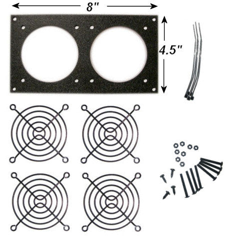 CG Fan Bracket  (2 hole/ Bare Kit ) 80mm kit for Cabinet Cooling - Coolerguys
