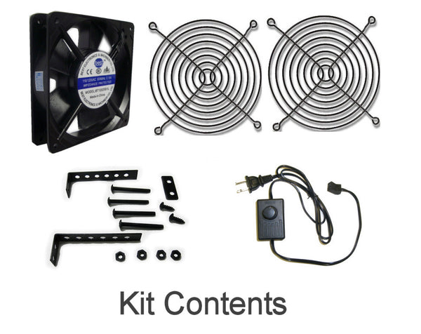 Coolerguys 120x25mm Low Speed AC Fan with mount/stand and manual speed control Kit CGAC1225L-BC
