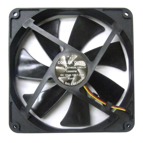 Coolerguys 140mm dual ball bearing fan 3 pin fan #CG14025L12B2-3Y