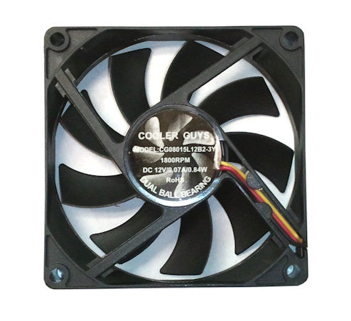 Coolerguys 80x 80x15mm 3 Pin Fan CG08015L12B2-3Y - Coolerguys