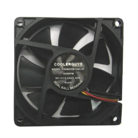 Coolerguys 80x25mm Quiet Medium Speed Dual Ball Fan CG08025M12B2-3Y