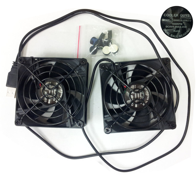 Coolerguys Dual 80x80x25mm USB Fans with Grills CG8025L05B2-U - Coolerguys