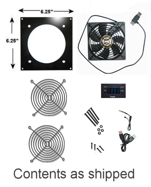 Coolerguys Pro-Metal  Single 120mm USB Fan Kit with LED Programmable Thermal Controller: Cabcool1201-M-USB/LED