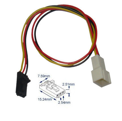 Dell compatible 3 pin fan cable adapter:#  25004-4 / EC-DF015