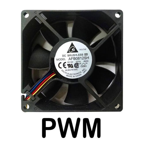 Delta 80x80x25mm 12 Volt High Speed Ball Bearing 4 Pin PWM Fan AFB0812SH-PWM - Coolerguys
