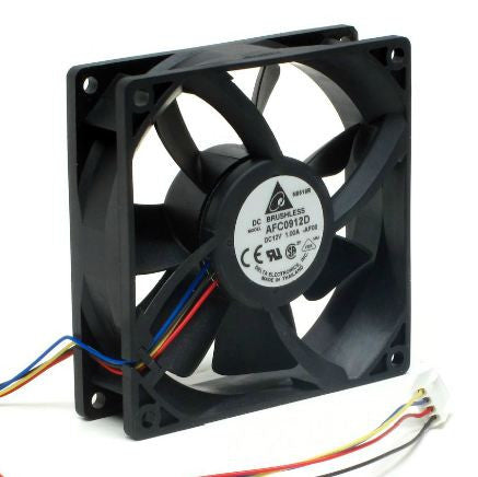Delta 92x92x25mm 12 Volt High Speed 4 Pin PWM with Tac Sensor Fan AFC0912D-AF00 - Coolerguys