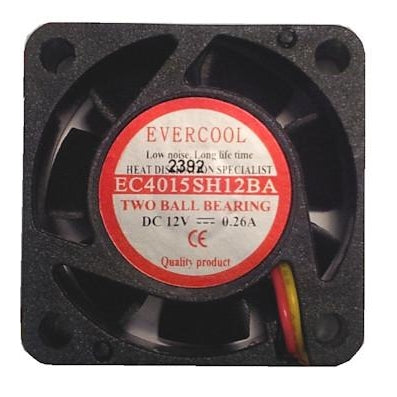 Evercool 40x40x15mm High Speed 12 Volt Fan with 3 Pin Connector-EC4015SH12BA - Coolerguys