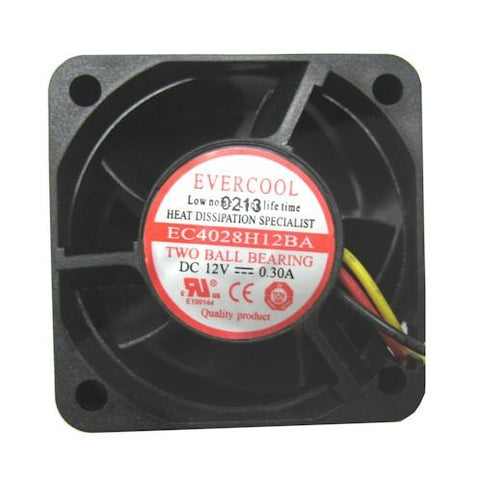 Evercool 40x40x28mm High Speed 12 volt Dual Ball Bearing Fan # EC4028H12BA