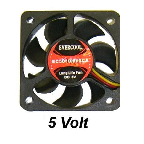 Evercool 50x 50x 10mm 5 volt Med speed fan  3 pin EC5010M05C