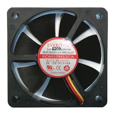 Evercool 60x60x15mm Medium Speed 12 Volt Fan with 3 Pin Connector EC6015M12CA - Coolerguys