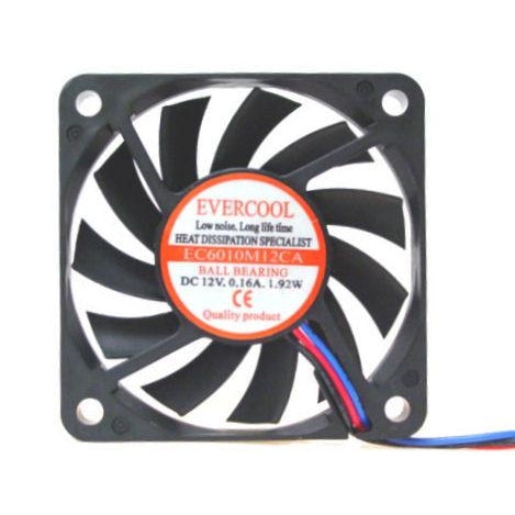 Evercool 60x60x10mm Med-Speed Fan 3 Pin-EC6010M12CA - Coolerguys