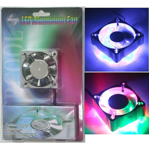 Evercool 60x60x25mm Blue or Multicolored LED Aluminum Fan-ALED6025