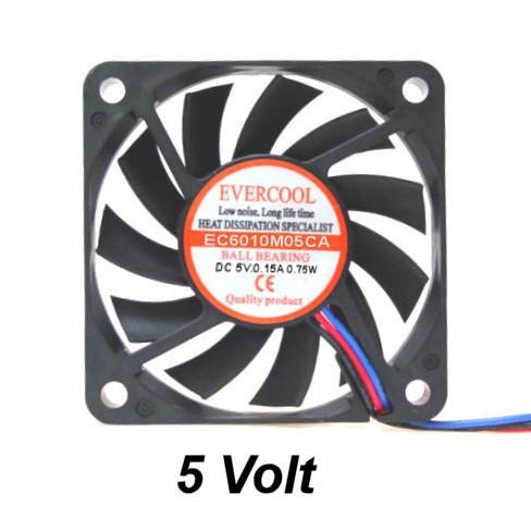 Evercool 60x60X10MM FAN BALL BEARING FAN 5V DC - 3 PIN #EC6010M05CA
