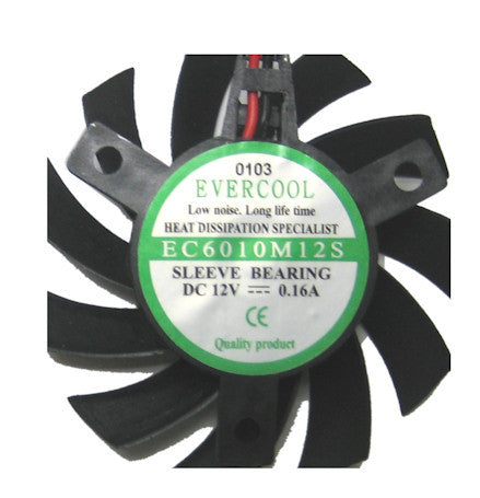 Evercool Video Card 60x60x10mm 12 Volt Frameless Fan VC-EC6010M12S-B - Coolerguys
