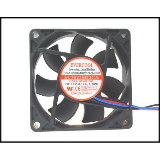 Evercool 70x70x25mm Ball Bearing Fan-EC7025M12CA - Coolerguys