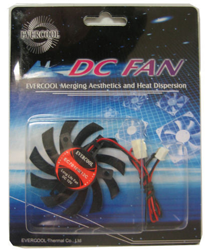Evercool 70x70x10mm Med Speed 12 volt Frameless Fan # VC-EC7010M12C-B