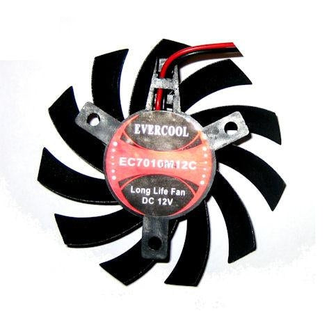 Evercool Video Card 70x70x10mm 12 Volt Frame Less Fan VC-EC7010M12C-B - Coolerguys