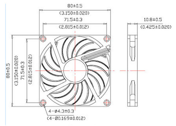 Evercool 80x10mm 5V Ball Bearing Low Speed Fan, 3Pin EC8010LL05EA