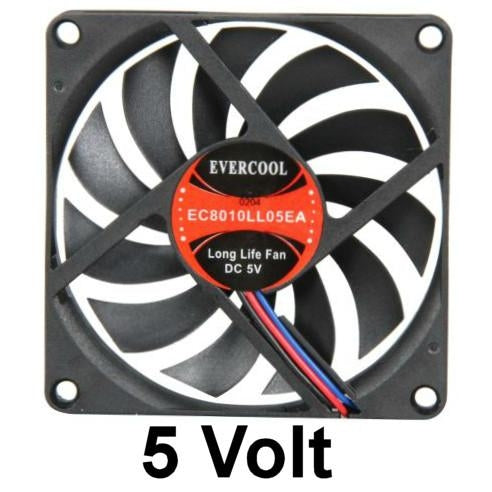 Evercool 80x80x10mm 5 Volt EC8010LL05EA - Coolerguys
