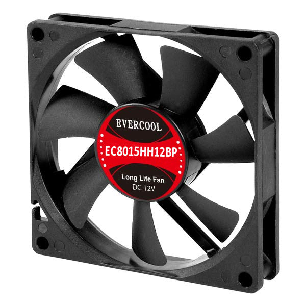 Evercool 80x15mm 12V PWM fan with connector #EC8015HH12BP