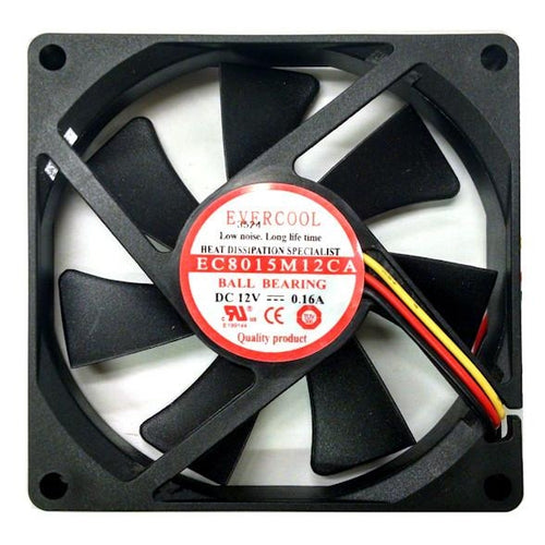 Evercool 80x80x15mm Single Ball Bearing Fan Medium/High Speeds - Coolerguys