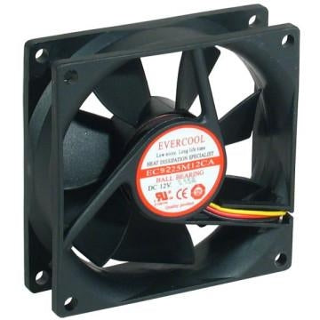 Evercool 92x92x25mm 12v Ball Bearing Fan-EC9225M12CA - Coolerguys