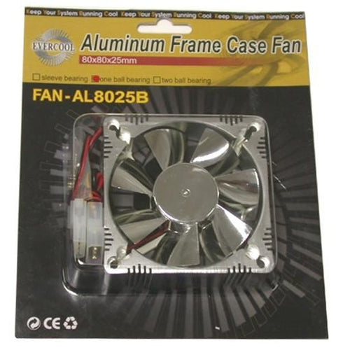 Evercool Chromed Aluminum 80mm Case Fan P/N AL8025B