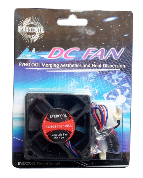 Evercool Low  Speed 60x60x25mm 12V fan with 3Pin connector #EC6025SL12EA