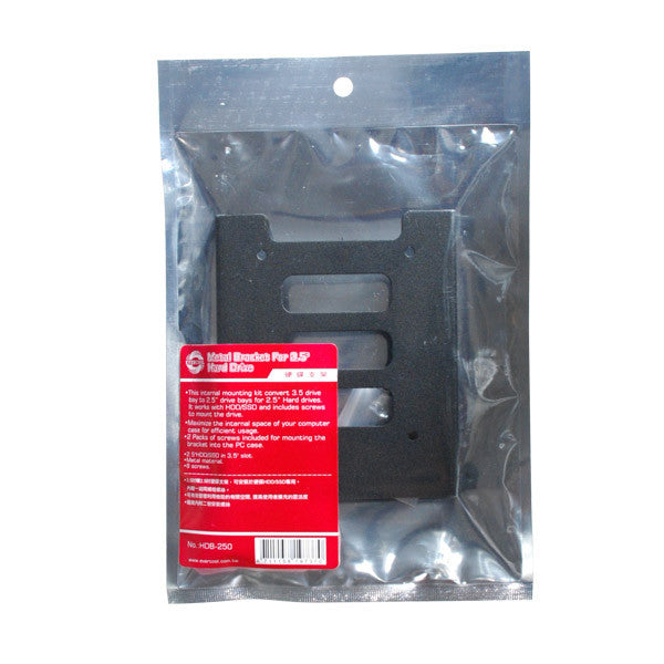 Evercool Metal Hard Drive Converting bracket for 3.5 inch HHD/SSD to 2.5 inch Bay HDB-250
