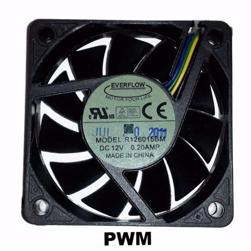 Everflow 60x60x15mm Medium Speed PWM Dual Ball Bearing 12 Volt Fan-R126015BM - Coolerguys