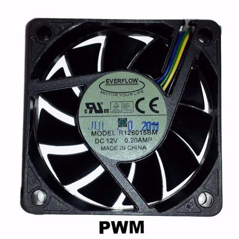 Everflow 60x60x15mm Med Speed PWM Dual Ball Bearing 12 volt Fan #R126015BM