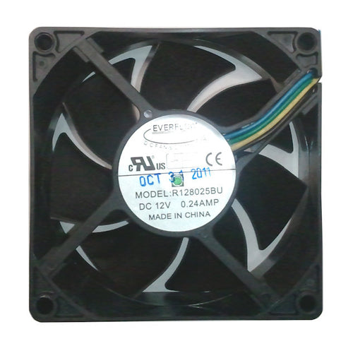 Everflow 80x80x25mm Dual Ball Bearing PWM Fan R128025BU-AF - Coolerguys