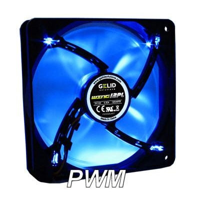 Gelid Wing 12 120x120x25mm PL Silent PWM Fan with LED FN-FW12BPL-18 - Coolerguys