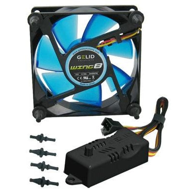Gelid Wing 8 80x80x25mm Gamer Fan Blue FN-FW08-20-B - Coolerguys