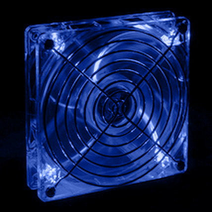 Lian Li 140mm Crystal Clear Ball Bearing Fan w Blue LEDS CF-1412A