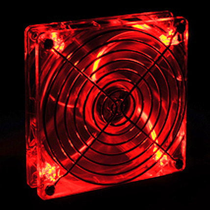 Lian Li 140x140x25mm Crystal Clear Ball Bearing Fan with Red LED CF-1412R - Coolerguys